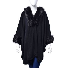 Black Colour Ruana, Collar and Sleeve with Faux Fur Edge (Size 105x70 Cm)
