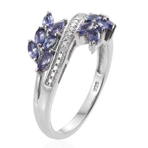 Tanzanite (Mrq), Diamond Ring in Platinum Overlay Sterling Silver 1.010 Ct.