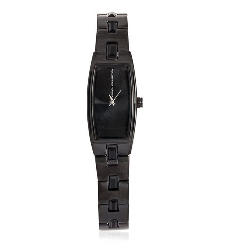 French Connection Black Dial Bracelet Watch With Black Tone Steel Strap - FC1016B