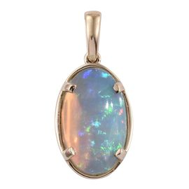 9K Y Gold AAA Rare Size Ethiopian Welo Opal (Ovl) Solitaire Pendant 5.000 Ct.
