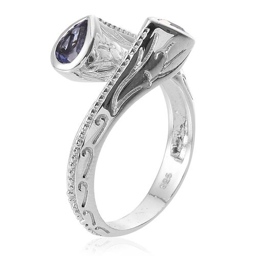 Tanzanite (Pear) Crossover Ring in Platinum Overlay Sterling Silver 0.500 Ct.