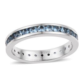 RHAPSODY 950 Platinum AAAA Santa Maria Aquamarine (Rnd) Full Eternity Band Ring 1.250 Ct.