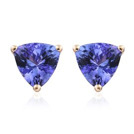 14K Yellow Gold Tanzanite (Trl) Stud Earrings (with Push Back) 1.500 Ct.
