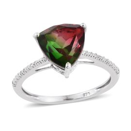 Tourmaline Colour Quartz (Trl) Solitaire Ring in Platinum Overlay Sterling Silver 4.000 Ct.