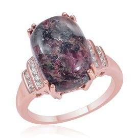 Russian Eudialyte (Cush 7.00 Ct), White Topaz Ring in Rose Gold Overlay Sterling Silver 7.250 Ct.