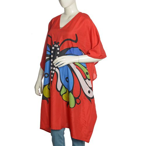 Multi Colour Butterfly Printed Red Colour Kaftan (Free Size)