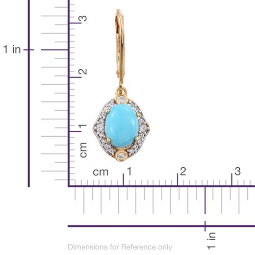 Arizona Sleeping Beauty Turquoise (Ovl), Natural Cambodian Zircon Lever Back Earrings in 14K Gold Overlay Sterling Silver 2.750 Ct.