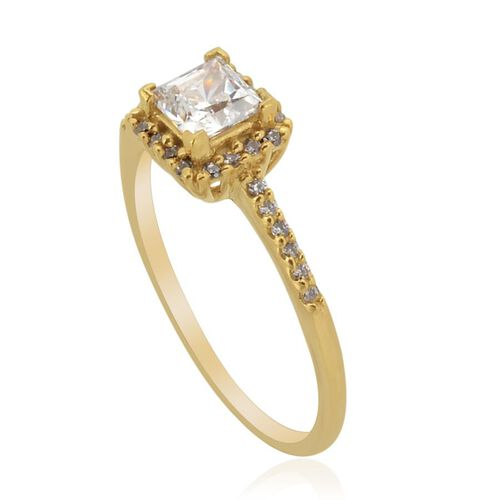J Francis - 14K Gold Overlay Sterling Silver (Sqr) Ring Made with SWAROVSKI ZIRCONIA  0.962 Ct.