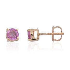 ILIANA 18K Y Gold Pink Sapphire (Rnd) Stud Earrings (with Screw Back) 1.000 Ct.