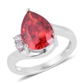 AAA Simulated Garnet and Simulated White Diamond Ring in Rhodium Plated Sterling Silver