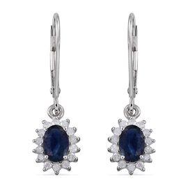 9K W Gold Kanchanaburi Blue Sapphire (Ovl), Diamond Lever Back Earrings 1.500 Ct.