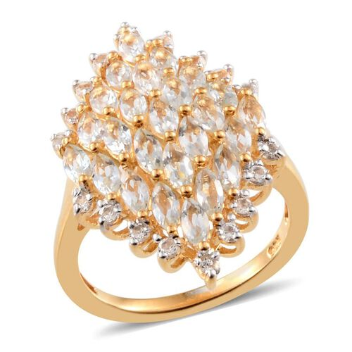 Espirito Santo Aquamarine (Mrq), White Topaz Cluster Ring in 14K Gold Overlay Sterling Silver 2.000 Ct.