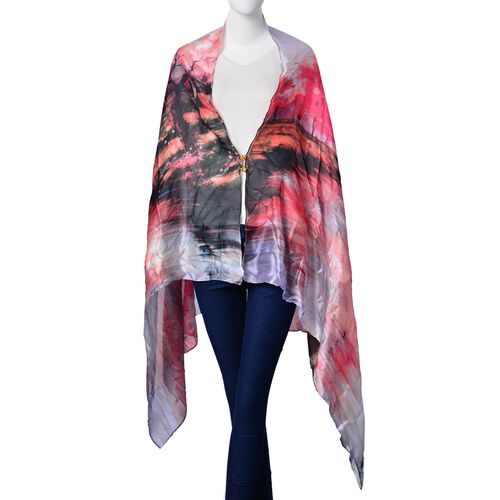 Designer Inspired- Red and Multi Colour Maple Leaf Pattern Multi Functional Poncho (Size 175x98 Cm)