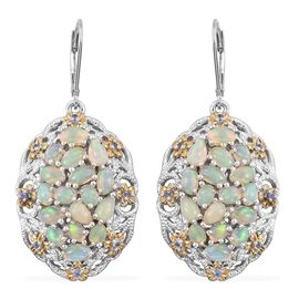 GP Ethiopian Welo Opal (Ovl), Tanzanite and Kanchanaburi Blue Sapphire Earrings in Platinum Overlay Sterling Silver 4.750 Ct.