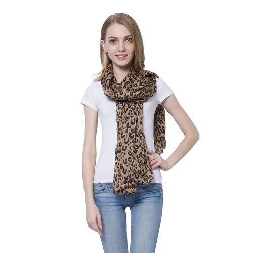 100% Mulberry Silk Leopard Pattern Chocolate and Black Colour Scarf (Size 180x110 Cm)