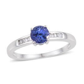 14K White Gold 0.85 Carat AA Tanzanite And Diamond (I3/G-H) Ring