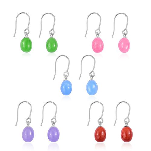 One Time Deal-Set of 5 Purple, Green, Red, Blue and Pink Jade Hook Earrings in Platinum Overlay Sterling Silver 40.500 Ct.