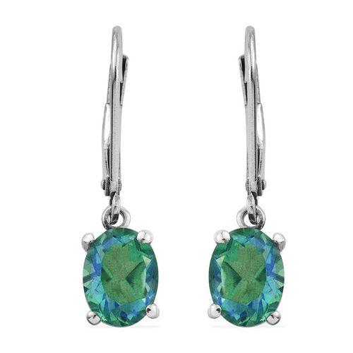 Peacock Quartz (Ovl) Lever Back Earrings in Platinum Overlay Sterling Silver 3.250 Ct.