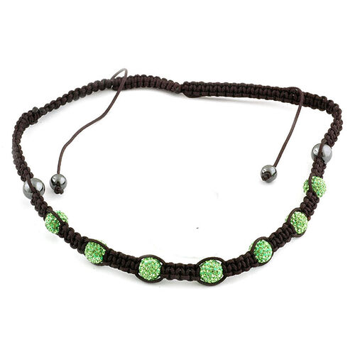 Mint Green Austrian Crystal, Hematite Necklace (Adjustable)
