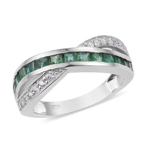 Kagem Zambian Emerald (Sqr), Natural Cambodian Zircon Criss Cross Ring in Platinum Overlay Sterling Silver 1.250 Ct.