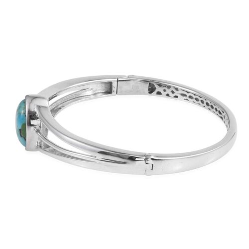 Arizona Matrix Turquoise (Ovl) Bangle (Size 7.5) in ION Plated Platinum Bond 6.250 Ct.