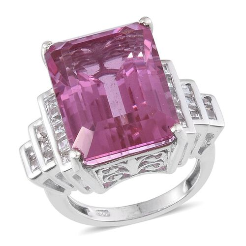 Kunzite Colour Quartz (Oct 17.50 Ct), White Topaz Ring in Platinum Overlay Sterling Silver 19.000 Ct.