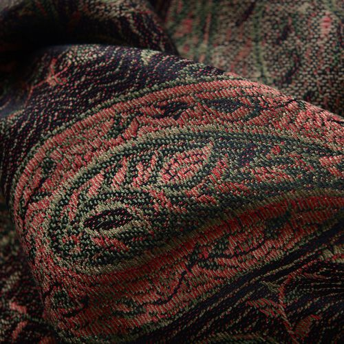 SILK MARK - 100% Superfine Silk Chocolate and Multi Colour Paisley and Leaves Pattern Green Colour Jacquard Jamawar Scarf with Fringes (Size 180x70 Cm) (Weight 125-140 Grams)