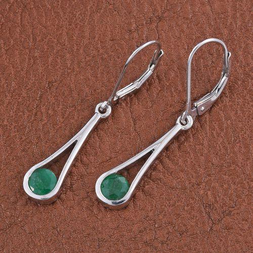 Kagem Zambian Emerald (Rnd) Lever Back Earrings in Platinum Overlay Sterling Silver 1.000 Ct.