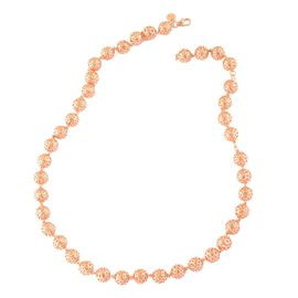 RACHEL GALLEY Rose Gold Overlay Sterling Silver Globe Necklace (Size 20), Silver wt 61.78 Gms.