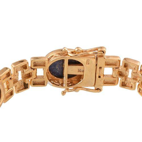 Lapis Lazuli (Ovl) Bracelet (Size 7.5) in 14K Gold Overlay Sterling Silver 32.000 Ct.