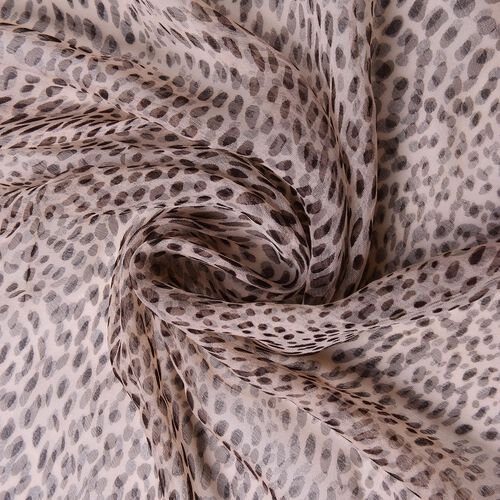 40% Mulberry Silk Chocolate and White Colour Leopard Pattern Scarf (Size 170X105 Cm)