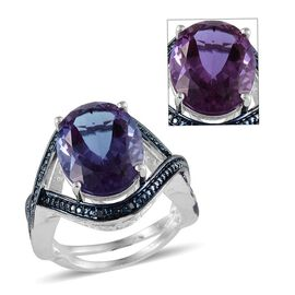 Lavender Alexite (Ovl 8.50 Ct), Blue Diamond Ring in Platinum Overlay Sterling Silver 8.520 Ct.