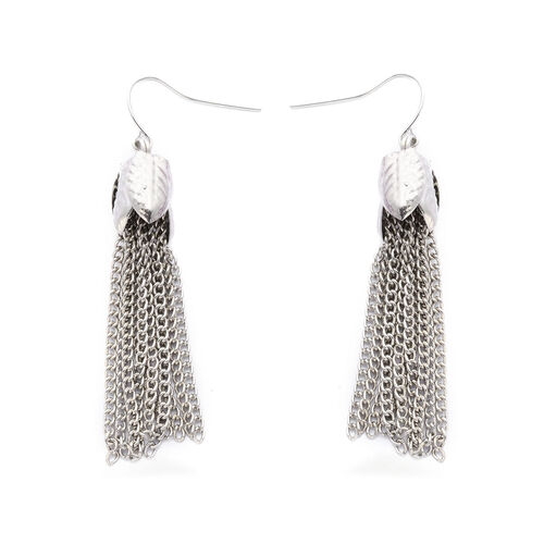 White Austrian Crystal Necklace (Size 18 with Extension) and Hook Earrings in Silver and Black Tone