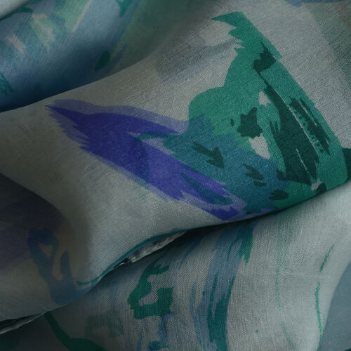 100% Mulberry Silk Blue, Green and Multi Colour Printed Pareo (Size 180x100 Cm)