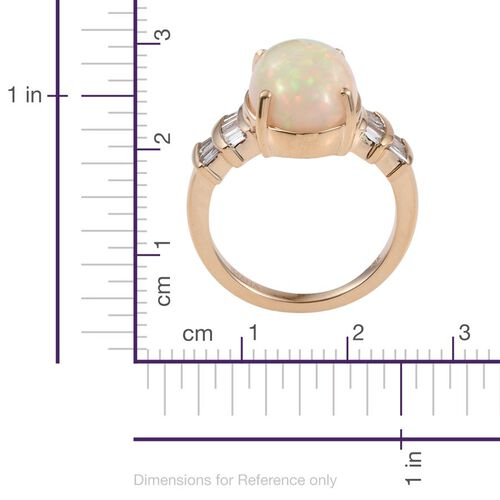 ILIANA 18K Yellow Gold Ethiopian Welo Opal (Ovl 5.00 Ct), Diamond (SI G-H) Ring 5.500 Ct.