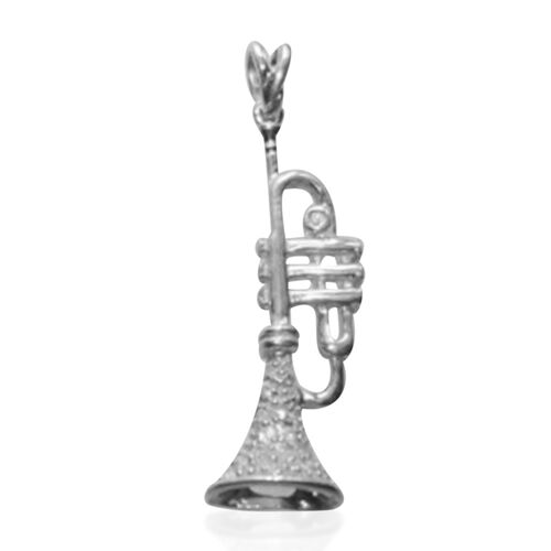 ELANZA AAA Simulated Diamond (Rnd) Trumpet Pendant in Rhodium Plated Sterling Silver