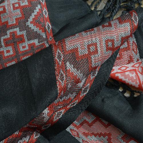 100% Viscose Scarf Quatrefoil Pattern Black and Red Colour Jacqaurd Scarf with Fringes (Size 200x70 Cm)