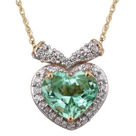 ILIANA 18K Y Gold Boyaca Colombian Emerald (Hrt 1.80 Ct), Diamond Necklace (Size 18) 2.000 Ct.