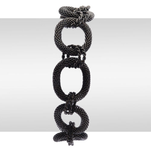 ION Plated Black Stainless Steel Bracelet (Size 8.5)