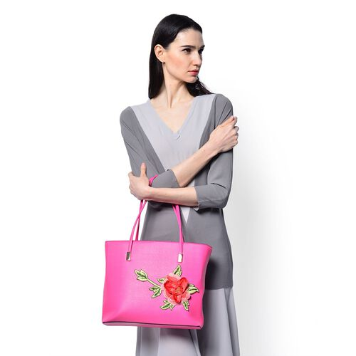 Floral Embroidered Carry All Tote  (Size 38x28x8 Cm)