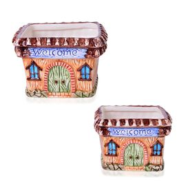 Home Decor - Set of 2 - Ceramic Square House Flower Pot (Large Size 12x12x10.5 Cm) and (Small Size 10.5x10.5x8.5 Cm)