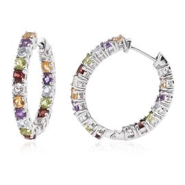 Mozambique Garnet (Rnd), Sky Blue Topaz, Hebei Peridot, Amethyst, Citrine and White Topaz Hoop Earrings (with Clasp) in Platinum Overlay Sterling Silver 4.540 Ct.