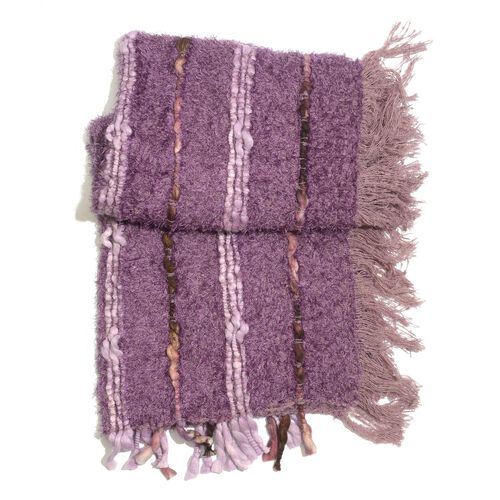 Purple Colour Shawl with Fringes at the Bottom (Free Size)