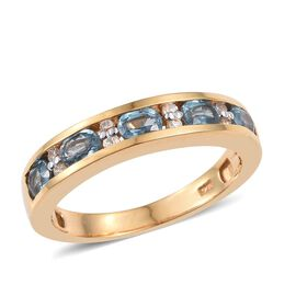 Teal Kyanite (Ovl), Natural Cambodian Zircon Ring in 14K Gold Overlay Sterling Silver 1.000 Ct.