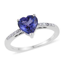 14K White Gold 1.35 Carat AA Tanzanite And Diamond (I3/G-H) Heart Ring
