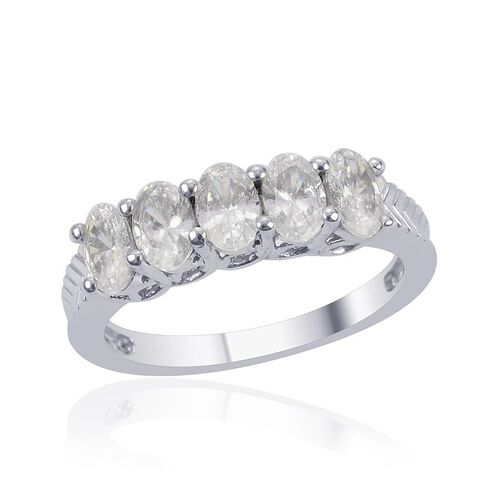 J Francis - Platinum Overlay Sterling Silver (Ovl) 5 Stone Ring Made with SWAROVSKI ZIRCONIA