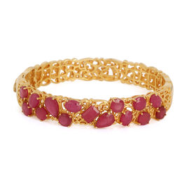 African Ruby (Oct 1.25 Ct) Bangle (Size 7) in 14K Gold Overlay Sterling Silver 18.000 Ct.