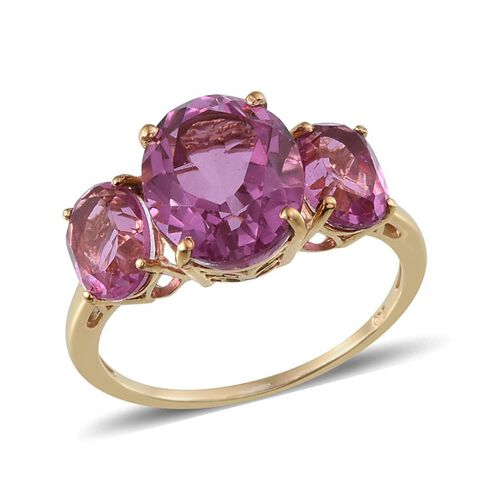 Kunzite Colour Quartz (Ovl 5.25 Ct) 3 Stone Ring in 14K Gold Overlay Sterling Silver 8.000 Ct.