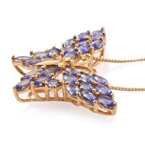 Tanzanite (Mrq) Butterfly Pendant With Chain in 14K Gold Overlay Sterling Silver 3.750 Ct.