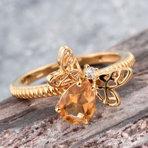 Citrine (Pear 0.95 Ct), White Topaz Honey Bee Ring in 14K Gold Overlay Sterling Silver 1.000 Ct.